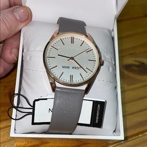 NINE WEST Watch Gray band/rose gold trim